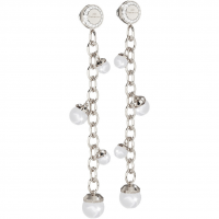 REBECCA - LONG BRONZE EARRING WITH PEARLS HOLLYWOOD PEARL
