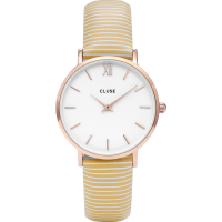 CLUSE MINUIT ROSE GOLD WHITE/SUNNY YELLOW STRIPES