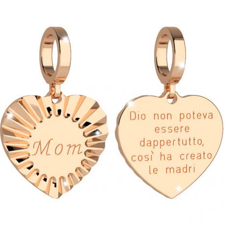 """REBECCA - CHARM IN BRONZO PLACCATO  A FORMA DI CUORE """"MOM"""""""