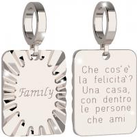 """REBECCA - CHARM IN BRONZO PLACCATO  A FORMA RETTANGOLARE """"FAMILY"""""""