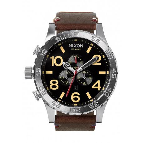 NIXON 51-30 Chrono Leather , 51 mm Black / Brown