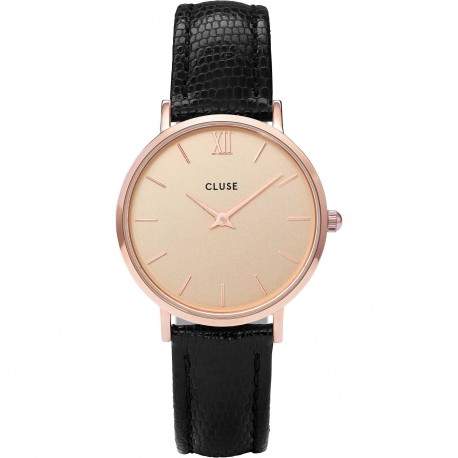 CLUSE - MINUIT ROSE GOLD CHAMPAGNE/BLACK LIZARD