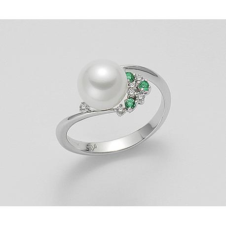 Anello Mikiko con Diamanti e Smeraldi