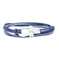 Sail-O® bracciale Altaïr in pelle blu navy con cucitura a contrasto 2 giri
