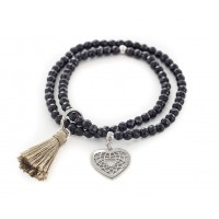 CUOREPURO BRACELET WITH HEART AND BLACK STONES