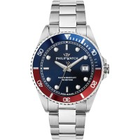 PHILIP WATCH CARIBE ONLY TIME BLUE/RED