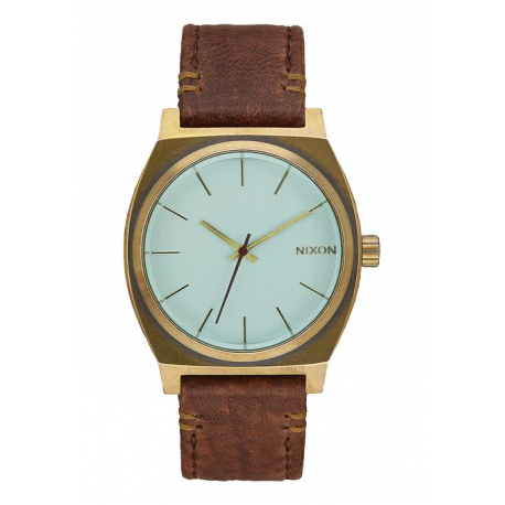 NIXON TIME TELLER BRASS / GREEN CRYSTAL / BROWN, 37 MM