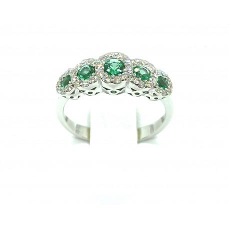 Anello Veretta in oro 18kt con smeraldi e diamanti