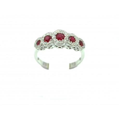 Anello Veretta in oro 18kt con rubini e diamanti
