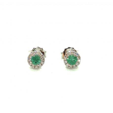 Orecchini in oro 18kt con smeraldi e diamanti