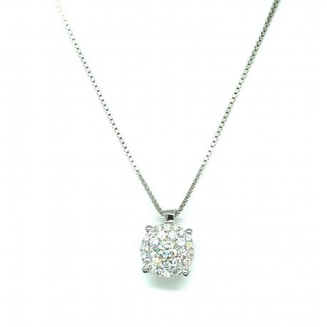 Collana in oro 18kt con punto luce multipietra in diamanti