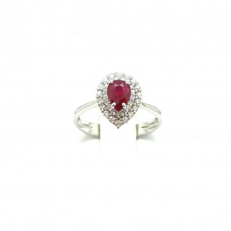 Anello in oro 18kt con Rubino goccia e diamanti