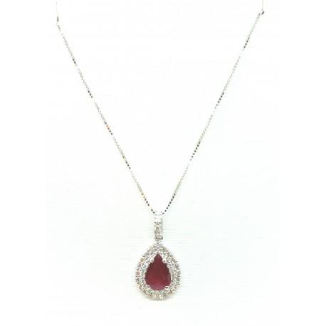 Collana in oro 18kt con ciondolo Rubino goccia e diamanti
