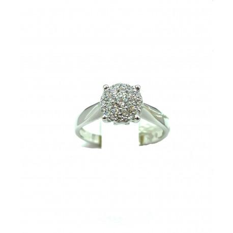 Anello Solitario in oro 18kt multipietra in diamanti