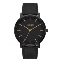 NIXON PORTER LEATHER , 40 MM ALL BLACK / GOLD