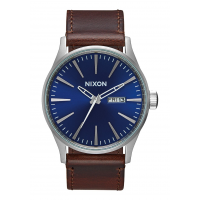 NIXON SENTRY LEATHER , 42 MM BLUE / BROWN