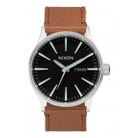 NIXON SENTRY LEATHER , 42 MM BLACK / SADDLE